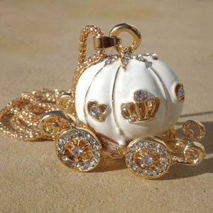 White Enamel Carriage & Jewel Cinderella Necklace